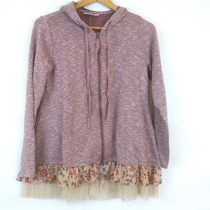 LOGO lori goldstein ruffle hoodie pink floral lace